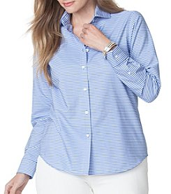 Chaps ®Plus Size No-Iron Striped Broadcloth Shirt