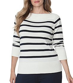Chaps® Plus Size Striped Cotton Modal Sweater