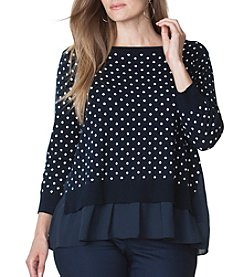 Chaps® Plus Size Polka-Dot Layered Sweater