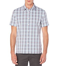 Perry Ellis® Men's Short Sleeve Woven Plaid Button Down