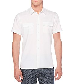 Perry Ellis® Men's Short Sleeve Wovens White Double Breasted Button Down