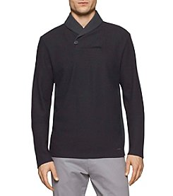 Calvin Klein Men's Long Sleeve Color Block Shawl Neck Sweater