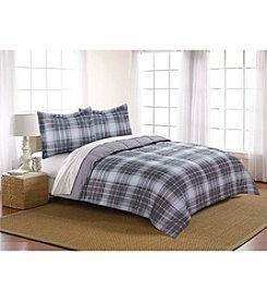 Living Quarters Microfiber Down-Alternative Noah Gray Plaid Comforter