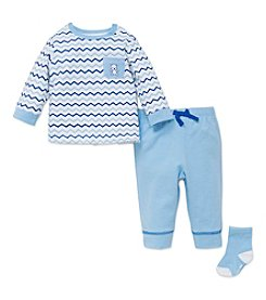 Little Me® Baby Boys 3-Piece Chevron Top & Joggers Set