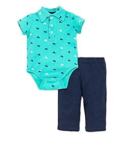 Little Me® Baby Boys 2-Piece Puppy Polo Bodysuit And Pants Set