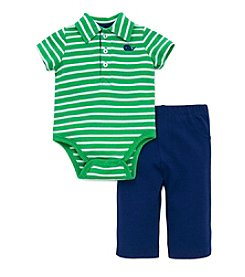 Little Me® Baby Boys 2-Piece Whale Striped Bodysuit And Pants Set