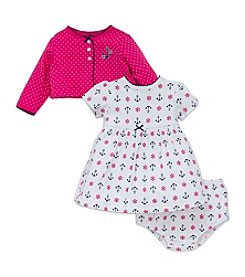 Little Me® Baby Girls' 3-Piece Anchor Dress And Cardi Set