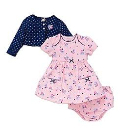 Little Me® Baby Girls' 3-Piece Daisy Dress And Cardi Set