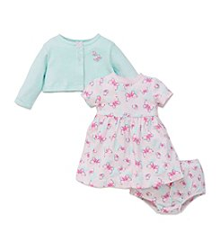 Little Me® Baby Girls' 3-Piece Butterfly Dress And Cardi Set