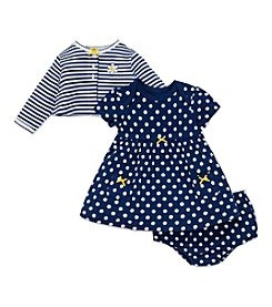 Little Me® Baby Girls' 3-Piece Daisy Dot Dress And Cardi Set