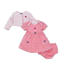 Little Me® Baby Girls' 3-Piece Striped Dress And Polka-Dot Cardi Set