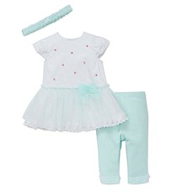 Little Me® Baby Girls' 3-Piece Lace Dress With Leggings Set