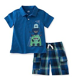 Kids Headquarters® Baby Boys' 12-24 Month 2-Piece Monster Polo And Plaid Short Set