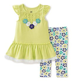 Kids Headquarters® Baby Girls' 2-Piece Ruffle Tunic Top And Floral Capri Set