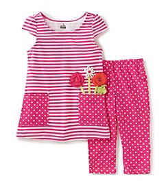 Kids Headquarters® Baby Girls' Striped Tunic Top And Polka-Dotted Capri Set