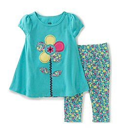 Kids Headquarters® Baby Girls' 2-Piece Flower Tunic Top And Floral Capri Set