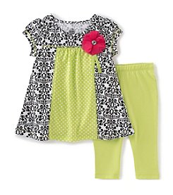 Kids Headquarters® Baby Girls' 2-Piece Printed Tunic Top And Solid Capri Set