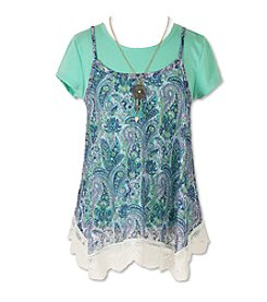 Speechless® Girls' 7-16 2-Piece Trapeze Tee And Lace Cami