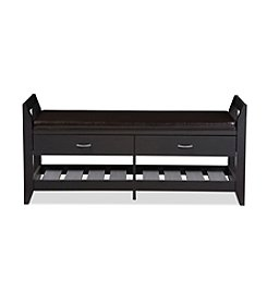 Baxton Studios Maurine 2-Drawer and 2-Shelf Shoe Storage Seating Bench