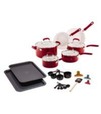 25-Piece Guy Fieri Ceramic Nonstick Aluminum Cookware Set (Black/Red)