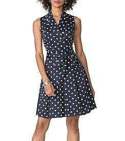 Chaps® Dot Wrap Shirt Dress