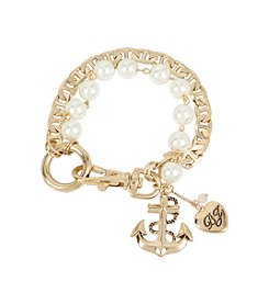 Betsey Johnson® Anchor Charm Mixed Pearl Bracelet