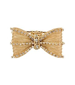 Betsey Johnson® Mesh Crystal Bow Hinged Bangle Bracelet