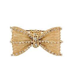 Betsey Johnson® Mesh Crystal Bow Hinged Bangle Bracelet