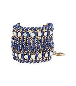 Betsey Johnson® Woven Stone Wide Mesh Bracelet