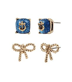 Betsey Johnson® Anchor Stone & Rope Bow Duo Stud Earrings