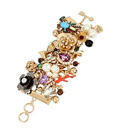 Betsey Johnson® Mixed Multi Charm Wide Toggle Bracelet