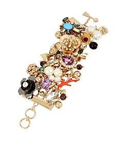 Betsey Johnson® Mixed Multi Charm Wide Toggle Bracelet