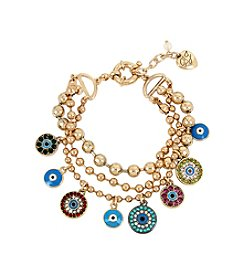 Betsey Johnson® Mixed Eye Charm Multi Row Bracelet