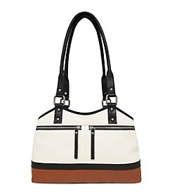 GAL Leather Colorblocked Triple Compartment Tote