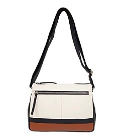 GAL Leather Colorblocked Multi Compartment Crossbody