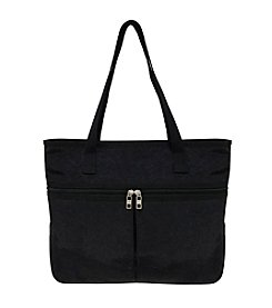 GAL Crushed Nylon Top Zipper Pocket Tote