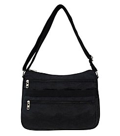 GAL Crushed Nylon Multi Pocket Hobo Crossbody