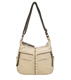 GAL Pearlized Washed Double Top Zipper Hobo Crossbody