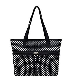 GAL Printed Nylon Top Zipper Pocket Tote