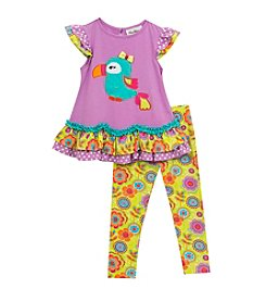 Rare Editions® Girls' 2T-6X 2-Piece Top With Parrot And Leggings Set