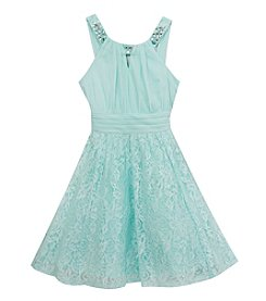 Rare Editions® Girls' 7-16 Jersey To Lace Dress