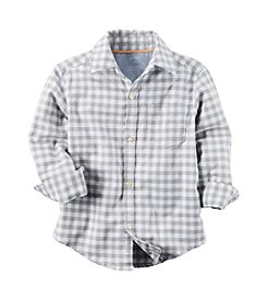 Carter's® Boys' 2T-8 Plaid Long Sleeve Woven Top