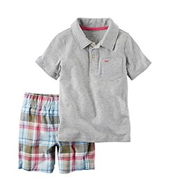 Carter's® Boys' 2T-4T 2-Piece Polo And Plaid Short Set