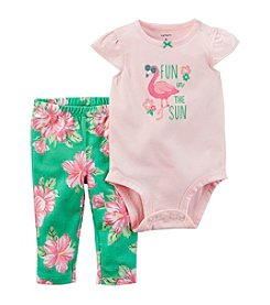 Carter's® Baby Girls' 2-Piece Flamingo Bodysuit And Floral Leggings Set