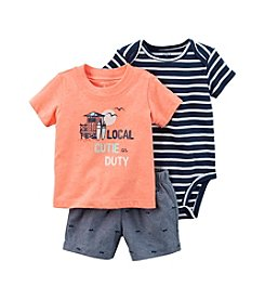Carter's® Baby Boys 3-Piece Striped Bodysuit And Chambray Shorts Set