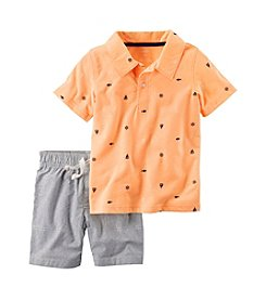 Carter's® Baby Boys 2-Piece Sailboat Polo And Striped Shorts Set