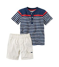 Carter's® Baby Boys 2-Piece Striped Henley And Cargo Shorts Set