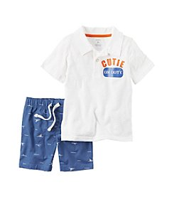 Carter's® Baby Boys 2-Piece Cutie Polo And Shark Printed Shorts Set