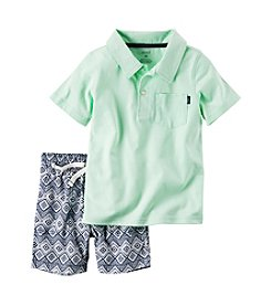 Carter's® Baby Boys 2-Piece Polo And Geo Printed Shorts Set