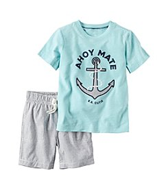 Carter's® Baby Boys 2-Piece Anchor Tee And Striped Shorts Set